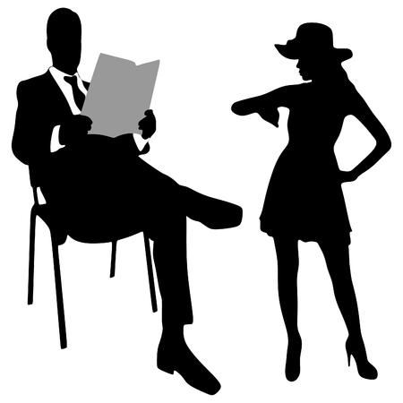 fashionable: man reading newspaper while his lady looking at her watch Illustration