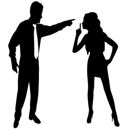 hush: angry business man screaming at the woman who showing finger over lips isolated on a white background. Be quiet, hush sign