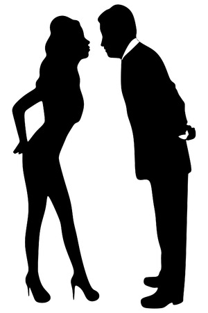 love affair: Business love. Business couple kissing in the office. Business affair