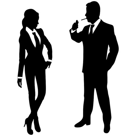 old man portrait: business man smoking cigarete while business woman looking at him Illustration