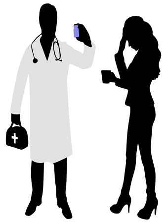 attentive: Medical care or insurance concept, Medical male doctor giving pills Illustration