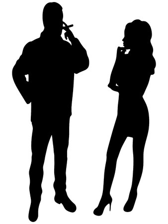 cuban cigar: man smoking cuban cigar while beautiful girl standing