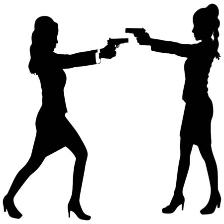 cocking: two women with gun