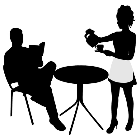 lady silhouette: Man reading a book during coffee break , waitress serving coffee Illustration