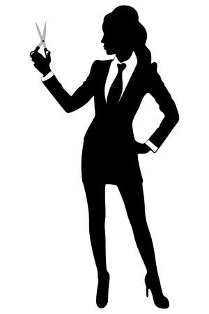 business woman showing scissors