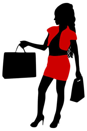 shoping bag: girl with shopping bags , vector Illustration