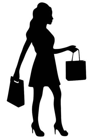 handbag model: girl with shopping bags Illustration