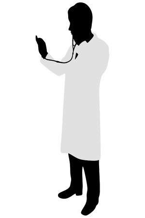 midsection: male doctor holding stethoscope Illustration