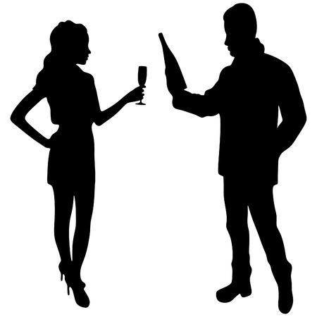 rich couple: young couple celebrating Illustration
