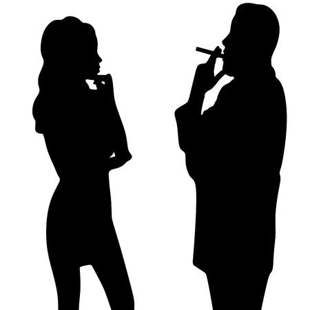 cuban cigar: man smoking cuban cigar while beautiful girl looking at him