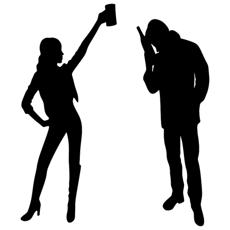 toasting: man and woman drinking, toasting Illustration