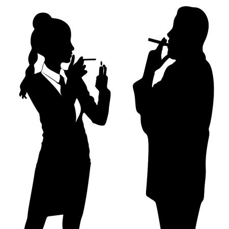 high society: young couple of high society smoking cigar