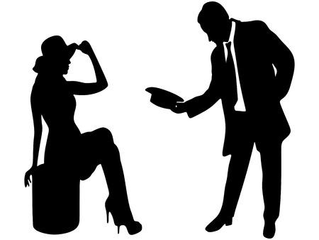 silueta de la señora y caballero