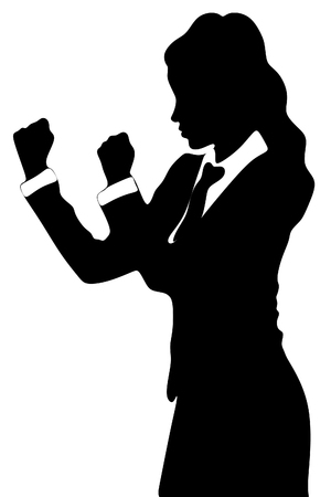 stance: business woman in boxing stance Illustration