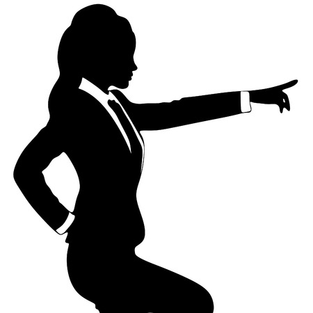 looking away: Businesswoman pointing with a finger isolated on white background Illustration