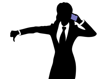 bad news: Businesswoman with bad news on his cell phone disapproving