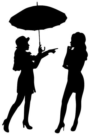 hot teenage girl: Two young girl friends standing together with umbrella
