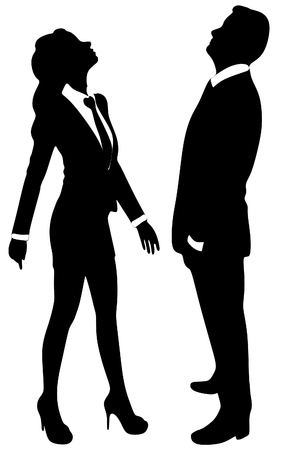 man looking up: business woman and business man looking up