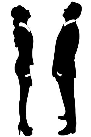 business woman and business man looking up