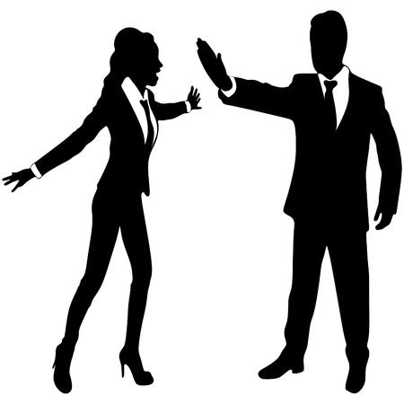 stop gesture: angry business woman or boss screaming at business man who showing stop gesture Illustration