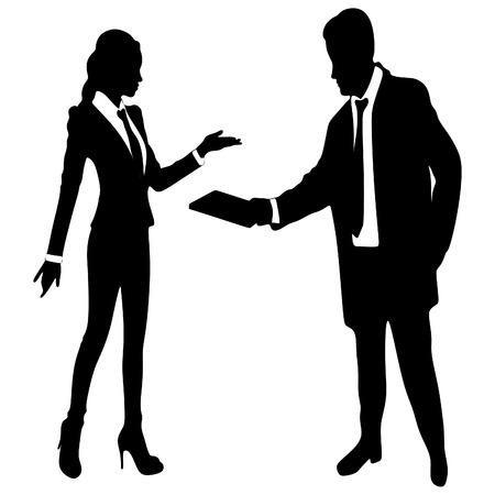 businesswomen: Businessman And Businesswomen Having Informal Meeting In Office Illustration