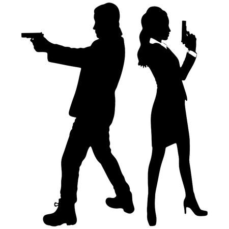 young couple with handguns, vector Illustration
