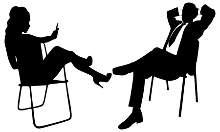 woman laying down: Young business people relaxing
