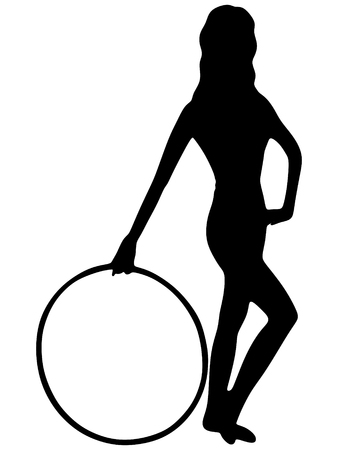 hulahoop: A young woman with hula hoop isolated on white
