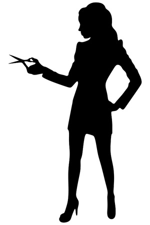 business woman showing scissors