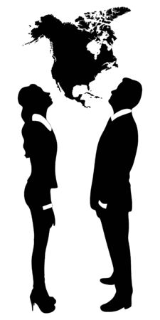 man looking at sky: young couple looking up map of america Illustration