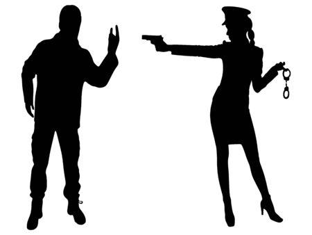police woman aiming at man