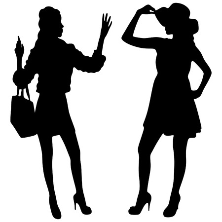 girlfriend: Perfect shopping. Two young pretty stylish girls are holding the shopping bags Illustration