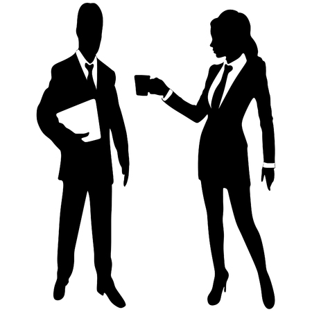 business people standing: business people standing and drinks coffee Illustration