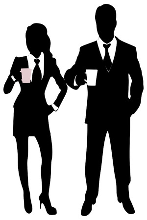 business people standing: business people standing with coffee