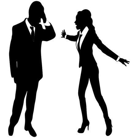 angry business woman or boss screaming at business man Illustration