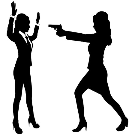 woman with gun: woman aiming gun Illustration