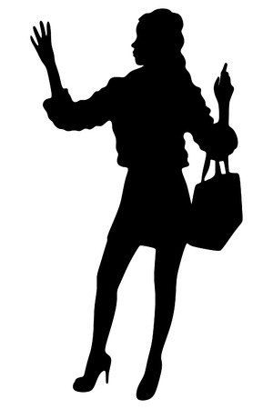 stopping: beautiful woman stopping taxi Illustration