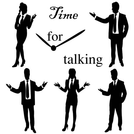 business communication: Business People Meeting Discussion Communication Concept Illustration
