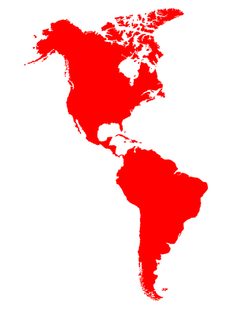 North and South America map Illustration