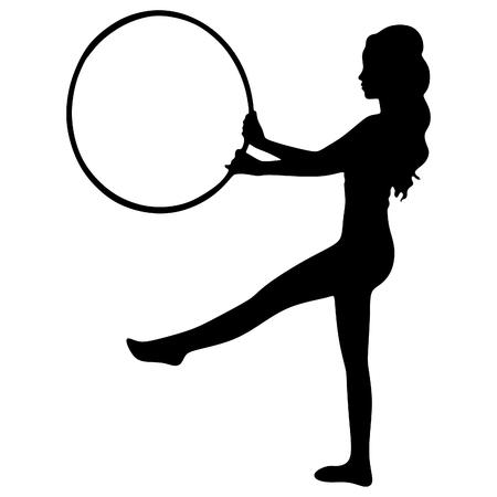 hula hoop: Woman doing exercises with hula hoop