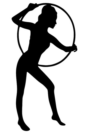hula hoop: A young woman doing exercise with a hula-hoop.Fitness woman. Illustration