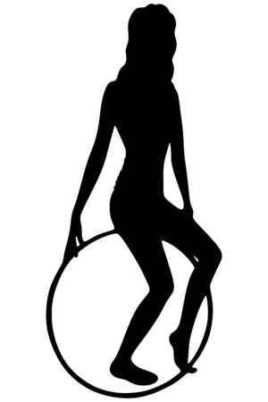 A young woman doing exercise with a hula-hoop.Fitness woman. Illustration