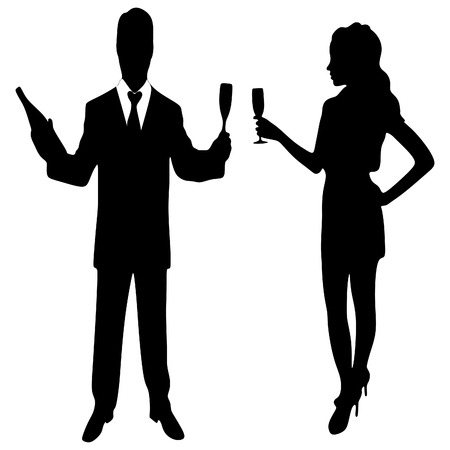 man and woman toast with champagne Illustration