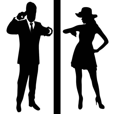phone time: beautiful girl looking at her watch - waiting time concept - businessman talking on the phone and looking at watch Illustration