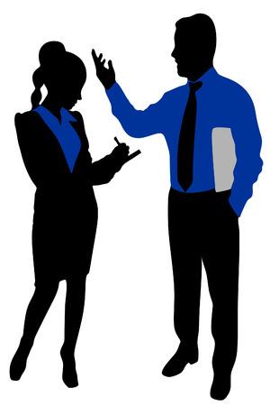 writting: business woman writting, business man talking