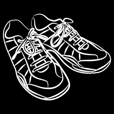 sports shoe: Tying sports shoe, vector