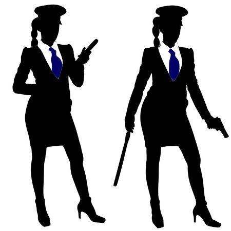 police woman: police woman standing with black police baton