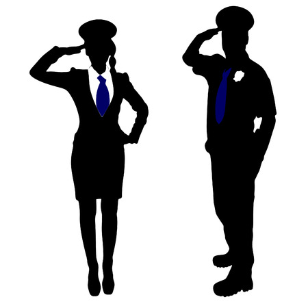 handcuffs female: policeman and policewoman Illustration
