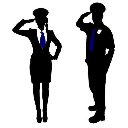 femme policier: policier et polici�re