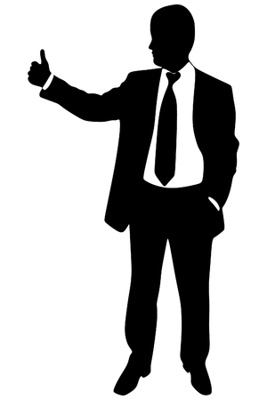 businessman shoes: successful businessman, thumb up, vector
